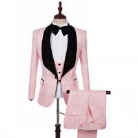 Men Pink Jacquard Paisley Tuxedo Suit Wedding Prom Party Dinner Suit Blazer