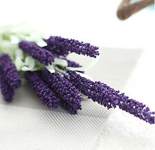 12 Heads Artificial Lavender Flower Leave Bouquet For Wedding Home Decor 8 Color