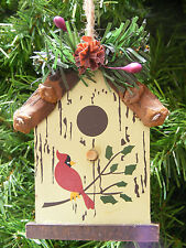 WOOD PINE BRANCH BIRDHOUSE w/PINE CONE & HOLLY BERRIES CHRISTMAS TREE ORNAMENT
