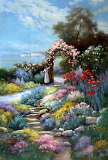 "Oil Painting "" Gorgeous Garden with Floral Gate"" 24 x 36 in."