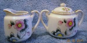 Vintage Miniature Sugar Bowl w/Lid & Cream Pitcher Wild Rose Design