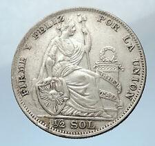 1935 Peru South America w Liberty Peruvian Antique Silver 1/2 Sol Coin i73770