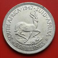 Süd Afrika-South Africa: 5 Shillings 1947 Silber, KM# 31, VZ-XF, #F2804