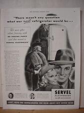 1938 Servel Electrolux Gas Refrigerator  Vintage Print Ad 036
