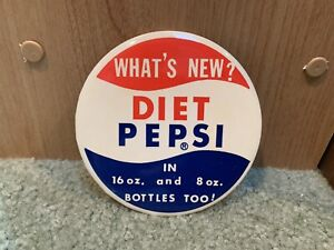 """1964 1st Year Vintage Diet Pepsi Cola Advertising what's New? Holy Grail! 3"""" Pin"""