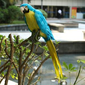 31cm Lifelike Parrot Look Left Red Birds Garden Ornament Lawn Yard Statue