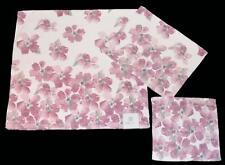 3-Pc PERI Plush Mauve-Pink Poppies Floral Velour Bath Hand Towel Wash Cloth NWT