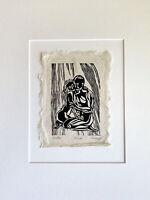 MATTED 12x16 Original Woodcut Print Tender Embrace Classic Figures Couple Hug