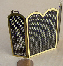 1:12 Scale Black Brass Fireplace Screen - Guard Dolls House Miniature Accessory