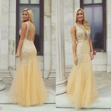 Jovani Sexy Nude Beaded Mermaid Silhouette Gown Prom Evening Dress Size 2 NWT