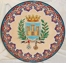 Keramik Wandteller 37 cm ~ Cloisonné-Email von Longwy ~ Wappen Thionville