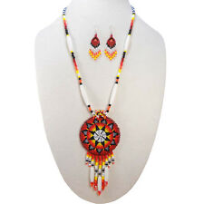 HANDCRAFTED ETHNIC ARTISAN RED MEDALLION CHUNKY BEADED NECKLACE EARRINGS SET