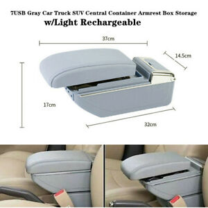 7USB Car SUV Central Container Armrest Box Storage Trim with Light Rechargeable