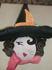"Halloween/October Soft Plush ""Pretty Witch"" Throw Pillow Decoration"