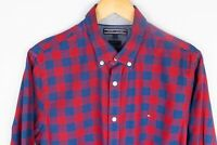 Tommy Hilfiger Men Casual Shirt Slim Fit Blue Red Check Cotton size L