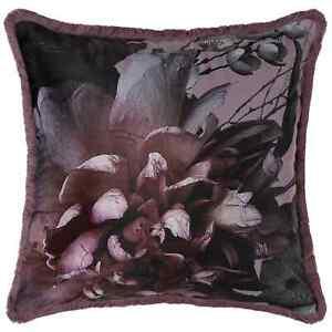 New Beautiful Velvet Purple Plum Floral Decorative Cushion 100% Polyester