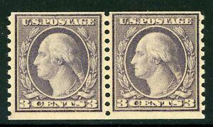 USA 1918 🔥 Washington 3¢ Type 1 Unwmk Perf 10 Coil Pair Scott 493 MNH 🔥 L504