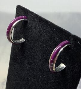 Handmade Inlaid Sugilite (Jade) 925 Sterling Silver Hoop Post Earrings 3.9g