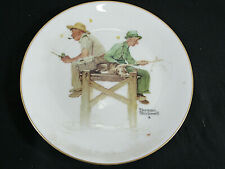 Vintage Norman Rockwell Summer Lazy Days Two Men Fishing Decorative Plate Nice!