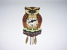 Vintage Germany Mini OWL Wall Clock w/ Moving Eyes