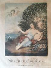 Belle Gravure Fin XVIIIe Ah Qu'il Sont Mechants Chez Duthé Putti Anges Enfant