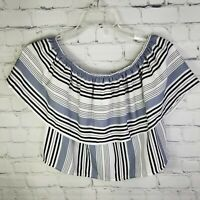 NWT SADIE & SAGE Ruffle Off Shoulder Blue & White Striped Crop Top Blouse Size S