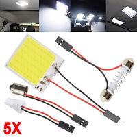 5X Car Interior Panel Lights 48 SMD COB LED T10 BA9S 4W 12V Dome Lamp Adapter UK