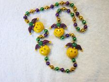 "Yellow Smiley Face ""Mardi Gras Jester"" Mg Necklace Bead Hat Walmart (B614)"