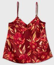 Size Small - Women's Floral Print Satin Sleep Camiole - Star Above Burgundy