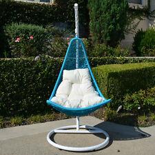 Egg Shape Wicker Rattan Swing Chair Weaved Hanging Hammock Turquoise Khaki White