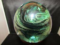 Hand Blown Art Glass Paperweight Green Swirl Kerry Glass Ireland