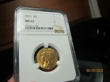 GOLD - 1/4 OZ  INDIAN HEAD HALF EAGLE 1911  MS-62  NGC  A NICE LOOKING GOLD COIN
