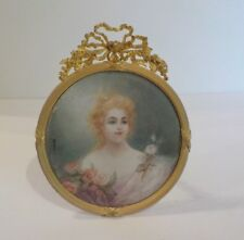 19th C. French Dore Bronze Frame Miniature Portrait, Signed (#7)