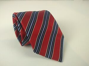 Ermenegildo Zegna 100% Silk Red Tie Made in Italy Striped Blue