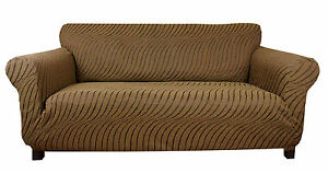 Elastic Slip Sofa Cover 1 2 3 seater WAVE (moka)