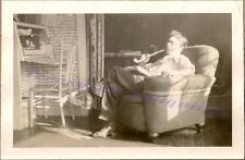 1920s Handsome Young Man Frat Boy Home Parlor Smoking Irish Long Stem Pipe Photo