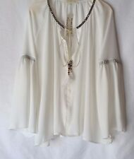 NEW LADIES PLUS SIZE IVORY EMBELLISHED NECKLINE LONG BELL SLEEVE TOP COVER UP