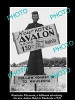 OLD LARGE HISTORIC PHOTO OF WAUKESHE WISCONSIN, THE AVALON HOTEL SIGN c1930