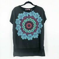 Desigual Womens Size Large Floral Abstract Blouse Short Sleeve Black
