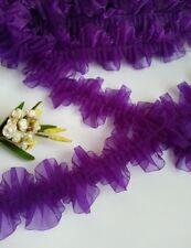 "2-1/4"" Purple Ruffle Pleated Organza Lace Trims-1 Yard-T376U"