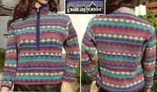 PATAGONIA fleece 1/2 zip pullover jacket multi color print snap t girls M 10