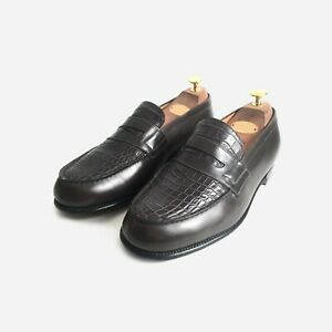 JM Weston, Moccasin 180 Loafers, Crocodile. Size 7 UK, 41 EU