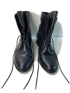 Stuart Weitzman Black Leather Boot Hidden Wedge 8.5 Ankle boot Combat EUC