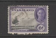 NYASALAND 1945 GEORGE VI 6d BLACK & VIOLET Fine Used