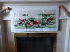"""Chinese silk embroidery art """"Nine fish picture"""" 42*18 large"""