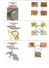 1982 & 83 AUST ANIMALS SERIES II REPTILES & AMPHIBIANS FDC Set Of Three
