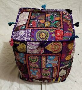 """Handmade Indian Cotton Poufs Cover Patchwork Ottoman Footstool 18X18X18"""" Inches"""