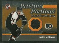 JUSTIN WILLIAMS 03-04 TOPPS PRISTINE PORTIONS GAME WORN JERSEY FLYERS