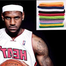 5X White Men/Women Cotton Sport Sweat Sweatband Headband Gym Stretch Head Band