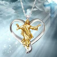 Gott Jesus Kreuz weißer Topas Halskette Gold gefüllt Anhänger Kette Choker